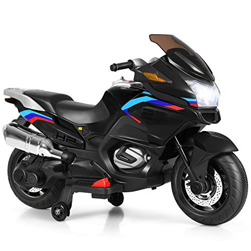 Costzon Kids Ride On Motorcycle, 12V Electric Battery Powered Ride On Bike w/ Training Wheels, LED Lights, Music, Pedal, Forward/ Reverse, Gift for Children Boys Girls (Black)