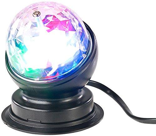Lunartec Discokugel: Rotierende 360°-Disco-Leuchte mit RGB-LED-Farbeffekten, 3 Watt (Partyleuchte)