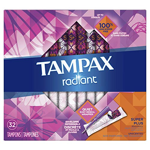 Tampax Radiant Plastic Tampons, Regular Absorbency, 112 Count, Unscented (28 Count , Pack of 4 - 112 Count Total)