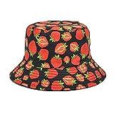 Sombrero de Pescador de Doble Cara Sombrero de protección Solar con Estampado de Fresa de Verano para Mujer con Sombrero de Lavabo al Aire Libre de ala Corta