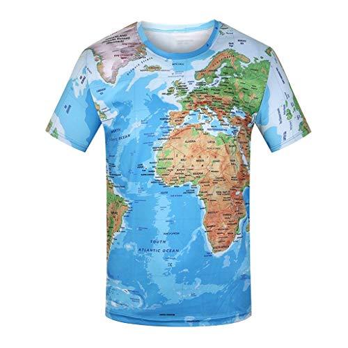 Geilisungren Herren Modern Weltkarte 3D Drucken T-Shirt Sommer Lustig Shirts Männer Basic Rundhalsausschnitt Kurzarm Bluse Übergrößen Tops