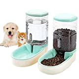 Lucky-M Pets Automatic Feeder and Waterer Set,Dogs Cats Food Feeder and Water Dispenser