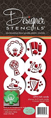 Designer Stencils C294Celta Irlandés el día de San Patricio Magdalenas y Galletas Plantilla (pequeño), Beige/Semi-Transparente