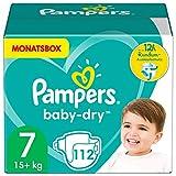 Pampers Windeln Größe 7 (15+kg) Baby Dry, 112 Stück, MONATSBOX, Bis Zu 12Stunden Rundum-Auslaufschutz