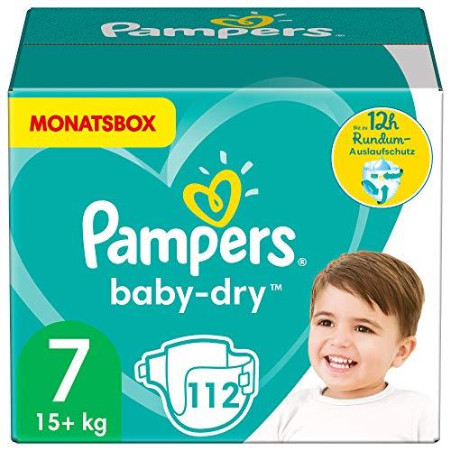 Pampers Größe 7 Baby Dry Windeln, 112 Stück, MONATSBOX, Für Atmungsaktive Trockenheit (15+kg)