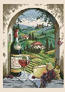 Zamtac Lovely Cute Counted Cross Stitch Kit Dreaming of Tuscany Vineyard Grapery Vinery Wine Grape Village dim 06972 6972 - (Cross Stitch Fabric CT Number: 18CT unprint Canvas)