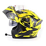 Motorcycle Bluetooth Communication Full Face Helmet,Flip Double-Sided Awning Bluetooth Headset HD Call Modular