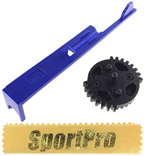 SHS製 電動ガン Ver 3用 ダブルセクターギア タペットプレート付 メタル/プラスチック製 - ブラック 313