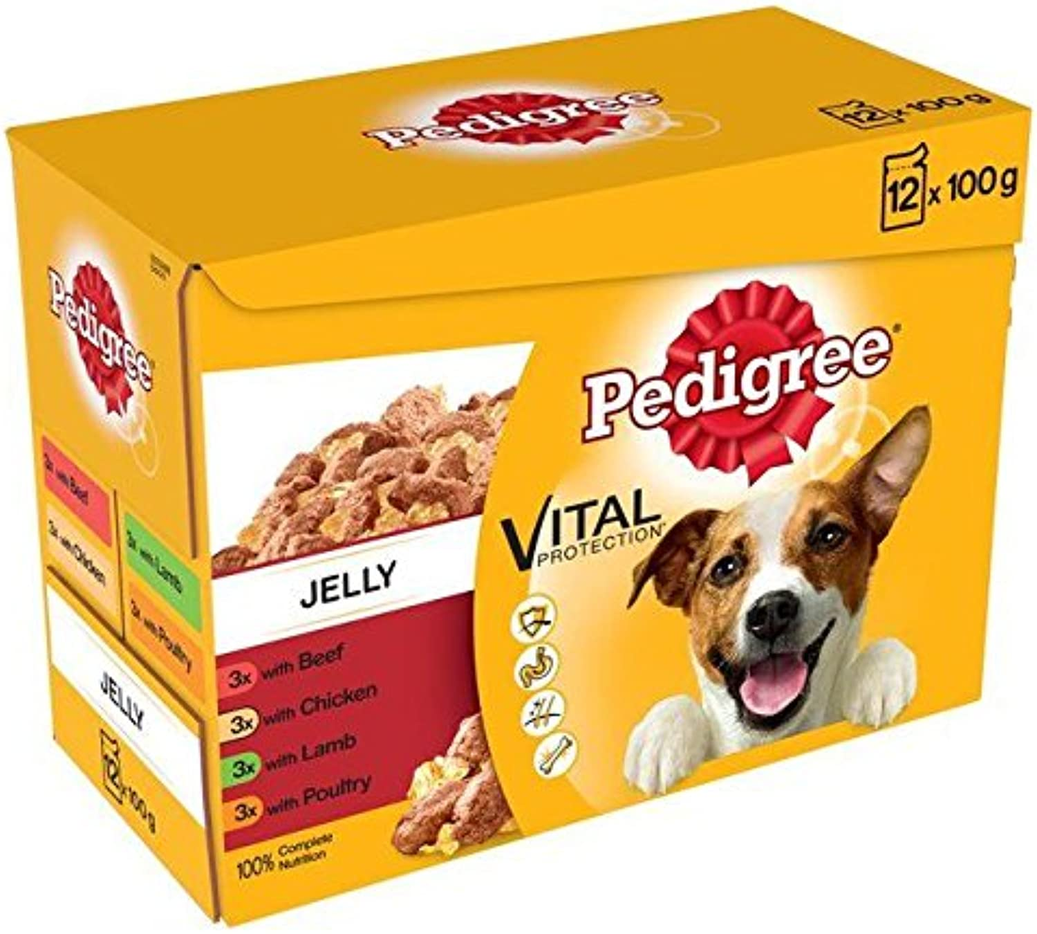 Pedigree Pouch Meat Selection in Jelly 12 x 100g (PACK OF 4)
