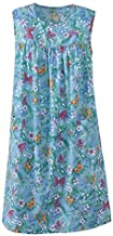 National Print Sundress - Sleeveless Mid-Length Ladies' Patio Dress, Patch Pockets, Cheerful Prints, Easy-to-Fit Women's Sun Dress, Turq. Butterfly, Large