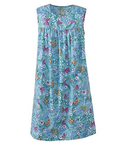 National Print Sundress - Sleeveless Mid-Length Ladies' Patio Dress, Patch Pockets, Cheerful Prints, Easy-to-Fit Women's Sun Dress, Turq. Butterfly, 2X Plus