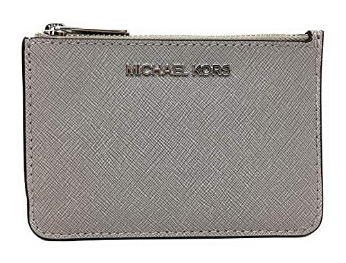 Michael Kors Jet Set Travel Small Top Zip Coin Pouch with ID Holder in Saffiano Leather (Pearl Grey, 1)