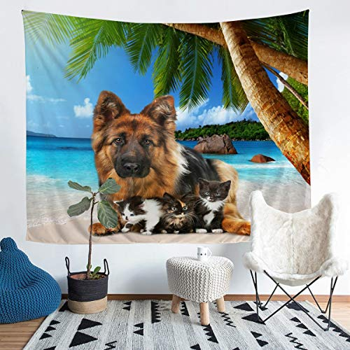 Manta de pared con diseño de gatos pequeños, para niños, niñas, palmeras, para colgar en la pared, ultra suave, hawaiana, verano, playa, brillante, manta grande de 58 x 79 pulgadas