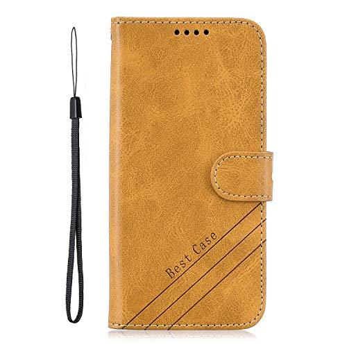 vingarshern Hülle für Motorola Moto G6 Play Handytasche Tasche Klappbares Magnetverschluss Lederhülle Flip Standfunktion Schutzhülle Motorola G6 Play Hülle Leder Brieftasche MEHRWEG-(Gelb)