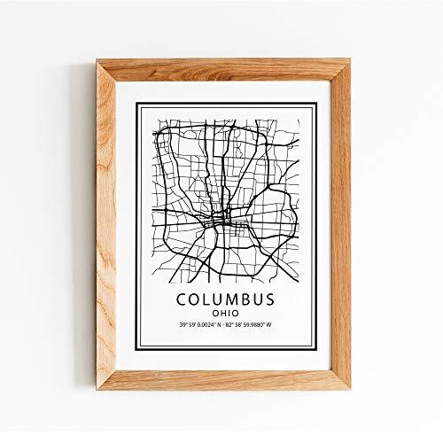 Ced454sy Columbus stad print Ohio OH staat afdrukbare stad kaart moderne gevoerde muur kunst home decor minimalistische abstract ontwerp teken