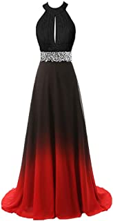 YiDianLiu Women's Gradient Long Prom Dresses Beaded Ombre Evening Wedding Party Gowns Formal