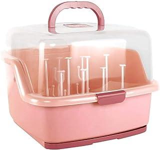 صندوق تخزين كبير مع غطاء حماية من الغبار، رف تجفيف لزجاجات الاطفال من يو هوم، منظم ادوات طعام الاطفال
