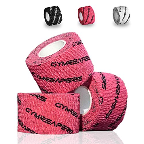 Gymreapers Gewichtheber-Klebeband, dehnbares Sport-Tape, Griff und Schutz für olympisches Gewichtheben, Cross-Training, Powerlifting, Hakengriff, rot, 3 Rolls