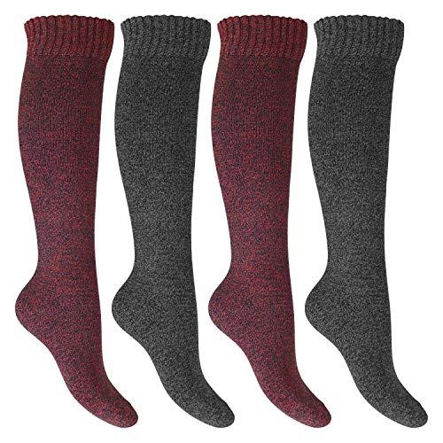 Footstar Damen Frottee Kniestrümpfe (4 Paar), warme Baumwollsocken mit Thermo-Effekt - Rot-Grau 35-38
