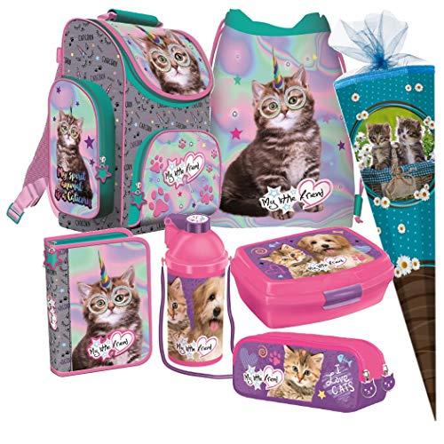 Katze Cat 7 Teile Set Schulranzen RANZEN SCHULTÜTE 85 Tasche Rucksack Tornister + Sticker von kids4shop