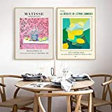 JIAJIFBH Imprime imágenes 2 piezas20x30cm sin Marco Pink Lemon Fruit Henry Matisse Lienzos Carteles Cocina Arte de la Pared Imágenes Decorativas Comedor Impresiones