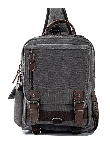 Sechunk Bolsa de lona tipo mensageiro, bolsa transversal de ombro, Cinza, Large