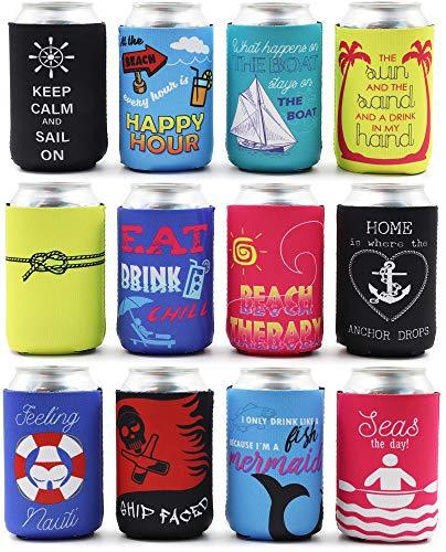 Nautical Can Sleeve - 12 Pack Drink Coozies met Geïsoleerde Covers, 12oz Neopreen Koelers voor Soda, Bier, Can Beverage, Multi kleuren, 2.4 x 2.4 x 4 Inches