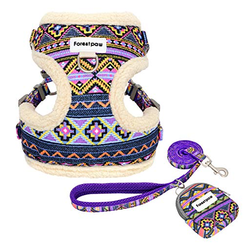 Forestpaw Multi-Colored Cat & Dog Harness and Leash Set,Soft & Comfortable Puppy Vest Harness,Step in Dog Harness for Small,Purple,XS