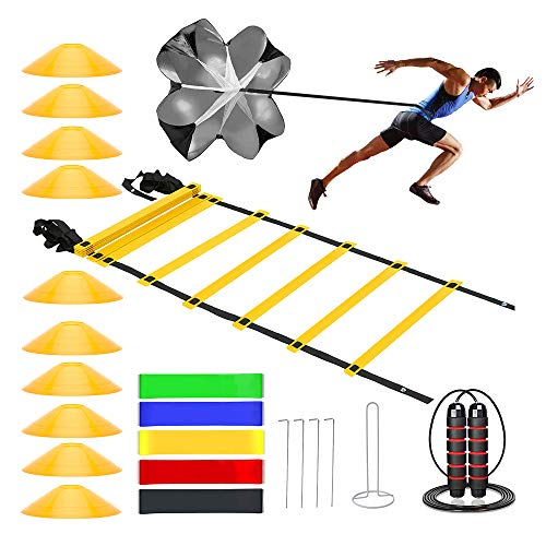 Speed Cones Training & 20ft Agility Ladder Set - Exercise Workout Equipment to Boost Fitness & Increase Quick Footwork - Kit for Soccer, Lacrosse, Hockey & Basketball - with Carry Bag