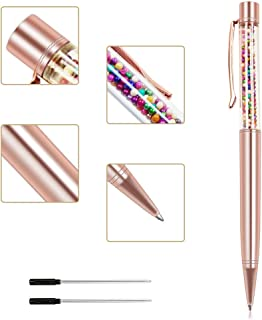 Ballpoint Pens, Jiulyning Rose Gold Metal Pen Refills with Colored beads, Bling Pen Black Ink for Office Supplies Gift Pens Wedding Decor Black Ink with 2 Replacement Refills