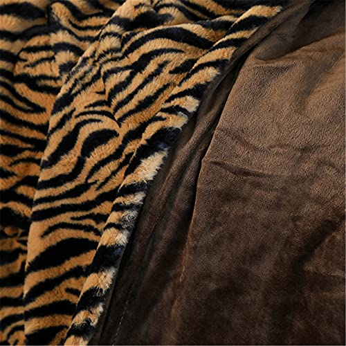 QinWenYan Manta de Tiro Zebra Leopardo Imprimir Cristal Velvet Manta Sofá Cama Manta Invierno Cálido Manta Doble Mantas para Cama (Color : Marrón, Size : 130x160cm)