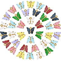 88ピース アクリル バタフライ チャーム カラフル バタフライ DIY ペンダント ジュエリー チャーム作成 ブレスレット ネックレス イヤリング クラフト用品 8色
