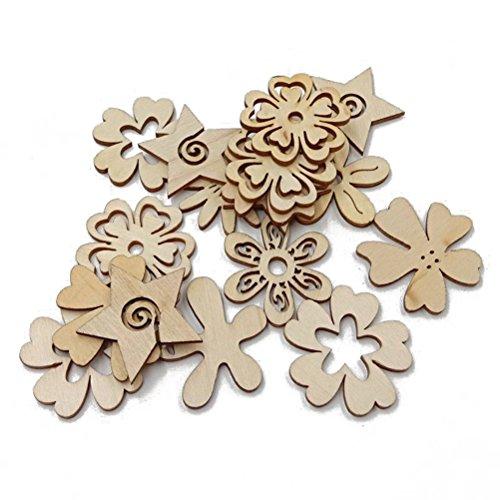 ULTNICE 50 dischi decorativi di legno per matrimoni, feste, fai da te, hobbistica, in legno naturale