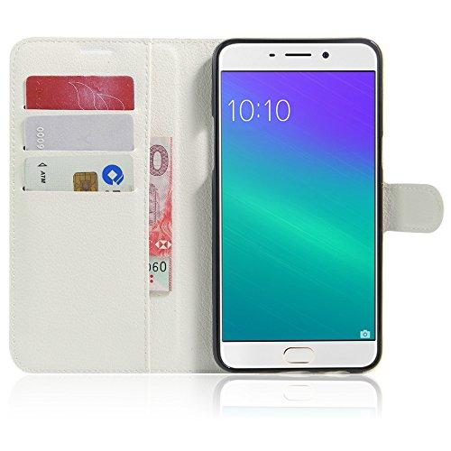 GARITANE Hülle für Oppo R9 Plus Hülle Brieftasche mit Kartenfächer Handyhülle Schutzhülle Lederhülle Standerfunktion Magnet für Oppo R9 Plus (Weiß)