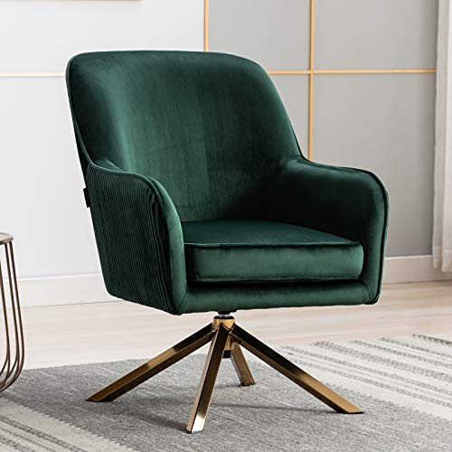 Artechworks Modern Velvet Swivel Accent Chair, Lounge Chair with X Typed Four Polished Golden Legs, Relax Armchair for Living Room, Office, Reading Room, Green