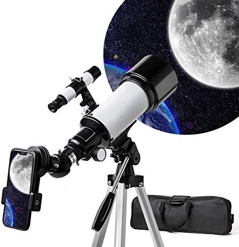 天体望遠鏡 子供 初心者 てんたいぼうえんきょう ぼうえんきょう 70mm大口径400mm焦点距離 望遠鏡 天体観測 初心者 ランキング 星座 スマホ撮影 正像天頂ミラー 軽量 伸縮式三脚 屈折式 トレイ スマホアダプター 日本語説明書 SOLOMARK