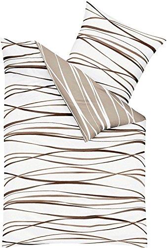 Kaeppel Edel - Seersucker Bettwäsche Motion Natur 1 x 80x80 + 1 x 135x200 cm