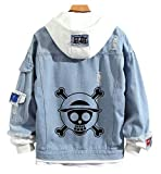 YOLEOLY Anime One Piece Denim Jacket Luffy Zoro Hoodie Sweatshirt Hooded Adult Cosplay Costume