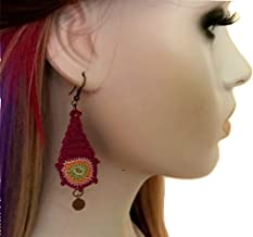 Maroon Green Crochet Earrings