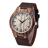 Mens Natural Wooden Watches Handmade Vintage Casual Wrist Watch Genuine Leather Wood Watch Zebra(Brown)