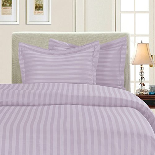 Elegant Comfort Best, Softest, Coziest 3-Piece Duvet Cover Sets! - 1500 Thread Count Egyptian Quality Luxurious Wrinkle Resistant 3-Piece Damask Stripe Duvet Cover Set, Twin, Lavender/Lilac