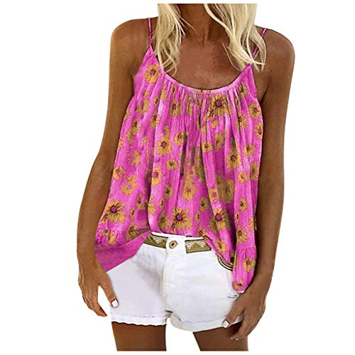GDJGTA Women Basic Boho Floral Printed Tank Tops Casual Crew Neck Sleeveless Camisole Vest Tee Shirt Blouse Pink