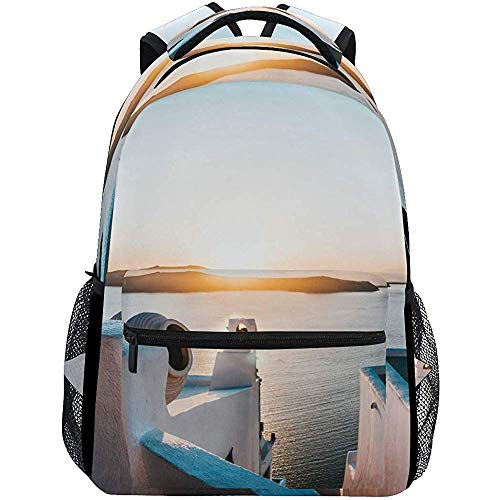 Daypack,Building Water Sunset School Bookbags Schouder Laptop Daypack College tas voor klimmen wandelen reizen 40Cm(H) X29Cm(W)