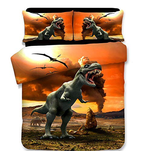 Jurassic Dinosaur 3D Juego De Ropa De Cama para Niños 135 x 200 cm Funda Nórdica Dibujos Animados VolcáN Dinosaurio Microfibra Funda Nórdica con 2 Funda de Almohada 50x75cm Muy Suave Hipoalergénica