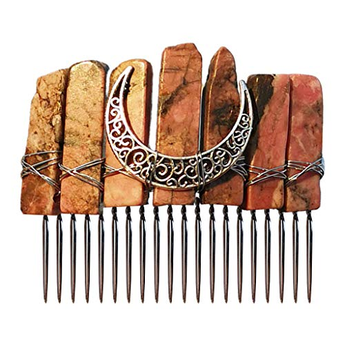 WT-YOGUET Bohemia Mujeres Cristal Crudo Cuarzo Tiara Peine Vintage Luna Antigua Metal Horquilla Clip Boda Fiesta Multicolor Joyera DIY Accesorios de Cabello
