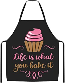 VinMea Funny Kitchen Apron, Life is What You Bake It Adult Apron with Black Border
