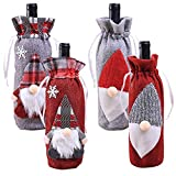 KEFAN - Juego de 4 fundas para botellas de vino con cordones de Navidad, diseño vintage a cuadros para decoración de mesa de comedor
