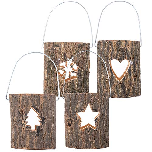 Christmas Candle Holder, Stump Shape Wooden Candle Holder with Hook | Rustic Tea Light Candelabra for Holiday Wedding Party Home Ornaments - 4PCS