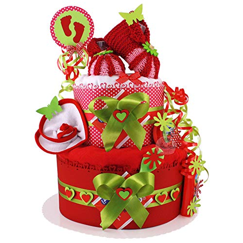 MomsStory - Windeltorte Mädchen   Erdbeer-Motive   Baby-Geschenk zur Geburt Taufe Babyshower   2 Stöckig (Rot-Grün) mit Baby-Schuhchen Lätzchen Schnuller & mehr