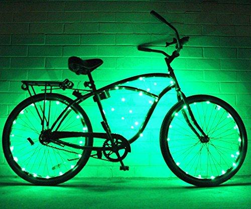 Cadena de luces de GlowRiders, para ruedas de bicicleta, con LED ultrabrillantes, pack de 2, verde